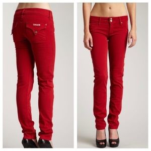Hudson Jeans Collin Flap Skinny Red Denim Size 29